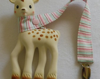 BatesCreates Sophie the Giraffe leash, tether, toy - 100% cotton fabric - topstitched (PINK TEAL STRIPES)