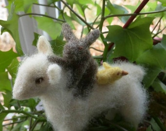 Needle felt lamb hare and chick
