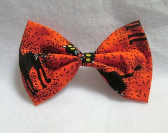 Halloween Bow, Cat Bow, Big Bow, Toddler Bow, Teen Bow, Hair Bow, Fabric Bow