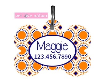 Personalized Pet Tag, Dog Tag, ID Tag, Modern Circles Pet Tag With Name And Number