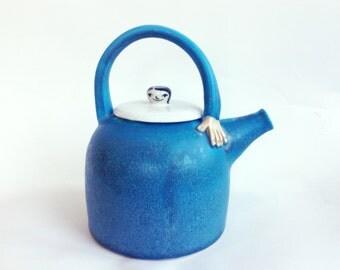 Stoneware Hand Thrown Turquoise Teapot. Lady Teapot. Big.