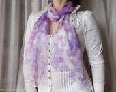 Lavender and lilac silk scarf - hand dyed on chiffon - women accessories scarves - spring french office fashion - romantic elegant scarf