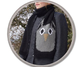 OWL KNITTED SCARF - black white gray - womens accessories scarves - knitted fashion - gift ideas for her - long winter scarf