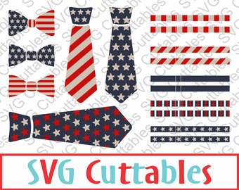 Fourth of July Tie SVG, Bow Tie, Suspenders, EPS, DXF, July 4th Vector, Digital Download