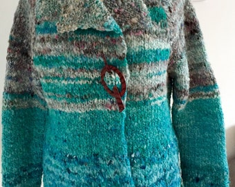 Handspun blue and fawn striped jacket