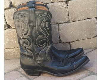 Acme Black Leather Western Cowboy Boots Pointed Women's Size 8 Narrow