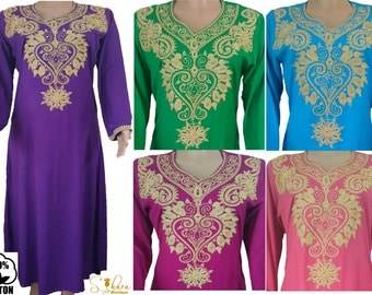 Moroccan Kaftan Gandoura Long Sleeve Djellaba Caftan Maxi Dress Arabian 100% Cotton