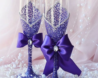 Purple Wedding Glasses, Wedding Champagne Flutes, Purple Wedding, Bridal Shower Personalized Toasting Flutes, Wedding gift