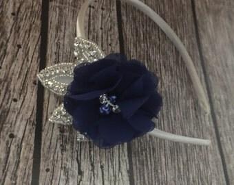 Rhinestone headband, navy and ivory headband, flower girl headband, wedding headband, dressy headband, formal headband, baby headband, flowe