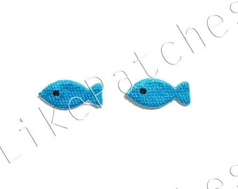 Set 2 pcs. Little Blue Fishes - Super Cute Patches New Sew / Iron on Patches Embroidered Applique Size 2.7cm.x1.2cm.