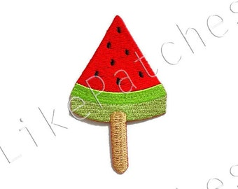 Watermelon Sorbet Red Summer Fruit Ice Cream Food patch New Sew / Iron On Patch Embroidered Applique Size 4.8cm.x8cm.