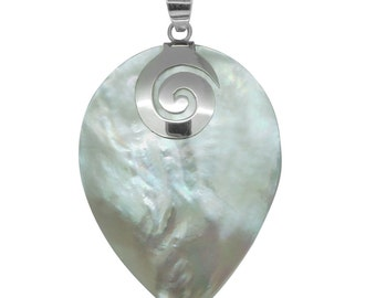 Mother of Pearl Pear Shaped Pendant without Chain in Sterling Silver Nickel Free TGW 22.00 cts.