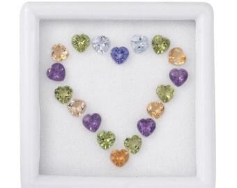 Mixed Heart Cut Loose Gemstones Set of 18 1A Quality 4mm TGW 4.00 cts.