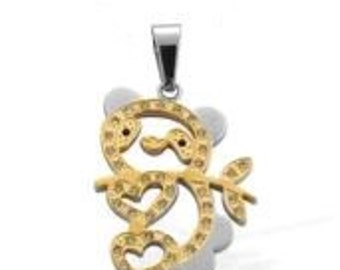 Panda Bear Crystal Gold Plated Pendant Without Chain