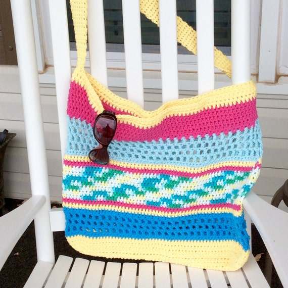 Colorful Cotton Crochet Beach Bag Large Tote Bag Summer Beach Bag ...