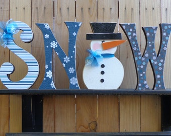 Winter Decor- Snowman Decor- Snow Decor - Snow Letter set with snowman 10""
