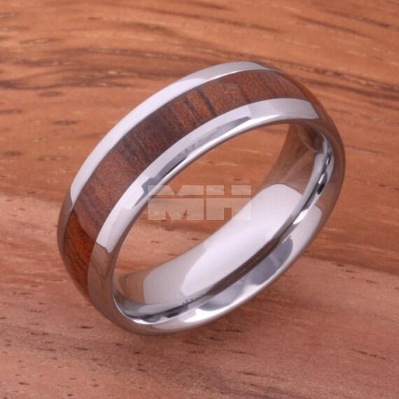 6mm Natural Hawaiian Koa Wood Inlaid Tungsten By
