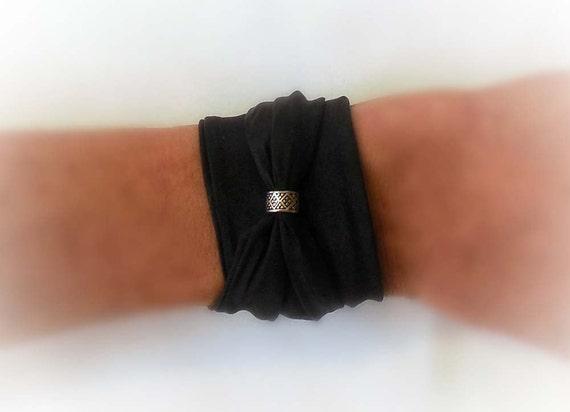 Black Silk Wrap Bracelet With Bead Hair Tie Hand Painted