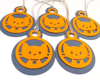 Cat Gift Tags, Set of 5 Tags, Gift Wrapping, Packaging, Tags, Birthday Tags, Cats, Cat Lovers, Orange/Navy