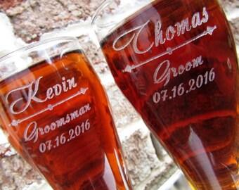 Groomsmen Gift, 8 Personalized Pilsner Beer Glass