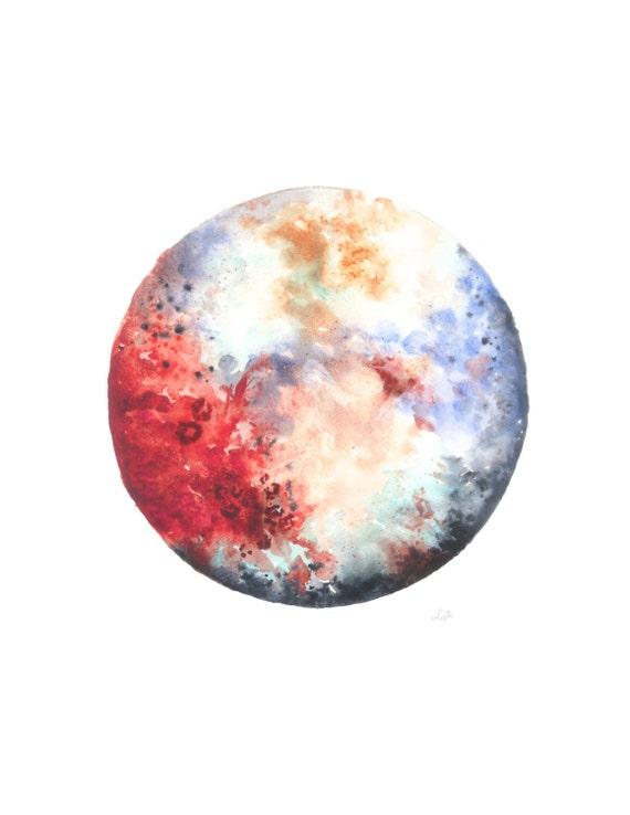 Pluto dwarf planet watercolor poster print