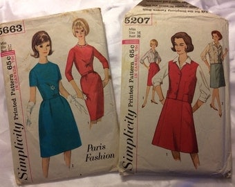 Set of 2 1960's Simplicity Ladies patterns # 5663 & 5207