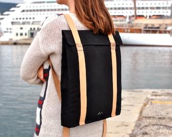 Black city backpack for women, canvas backpack, minimalist backpack leather laptop bag, Custom backpack 201