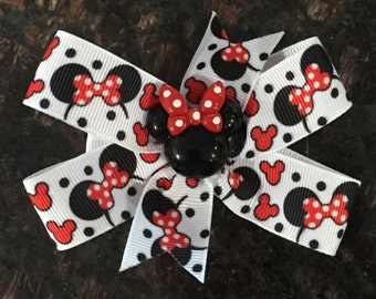 Minnie Mouse Bow/ Clip...red, black and white with polka dots
