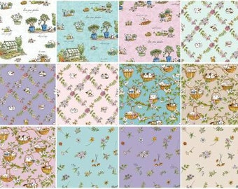 Cats in the Garden by Anita Jaram for Clothworks Fat Quarter Bundle 12 FQ