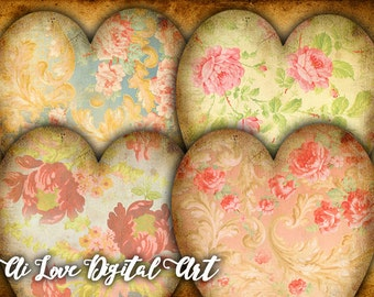 Digital collage sheet heart tags printable, Baroque Flowers, instant download, gift tags printable images, download card making, shabby chic