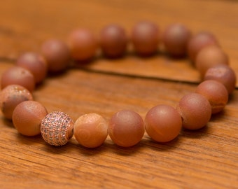 Peach Quartz with Rose Gold Pave Bead for Increased Intuition