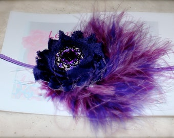 Shabby Chic Flower with Feathers Headband