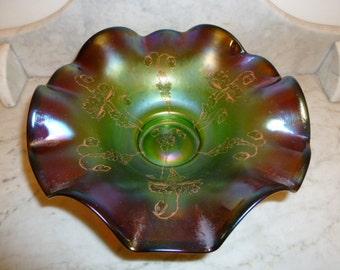 Outstanding Art Nouveau iridescent purple art glass bowl silver plated base, Austria circa 1900
