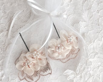 Floral pins, Ivory bobby pins, Ready to Ship