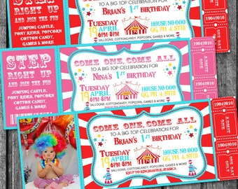 Circus invitation - Vintage circus birthday invitation - DIY circus or carnival ticket invite - printable invitation