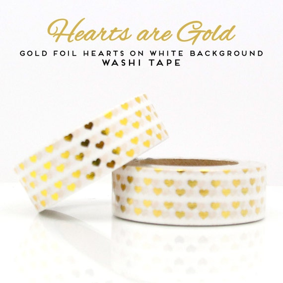 Gold Foil Hearts on White Background Washi Tape