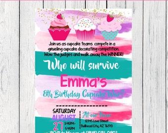 Cupcake War Personalized birthday invitation- Stripes ***Digital File*** (Cupcake-Watercolor)