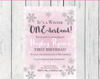 Winter Onederland Birthday Invitation-   ***Digital File*** (One-Winterpnk)