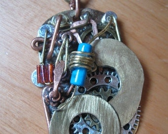 Steampunk necklace, steam punk necklace, steampunk pendant, steampunk pendant. Handcrafted in mixed metals