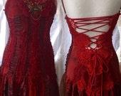 Sexy red crochet dress,tattered unique dress ,eye catching,handmade dress,maroon dress,statement dress,womens red dress, gypsy style , boho