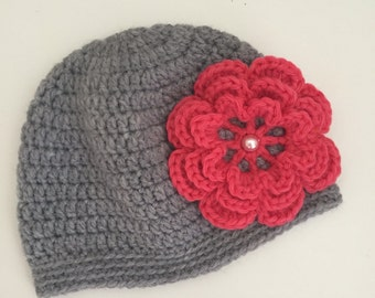 Crochet newborn baby hat with big flower  -if desired with matching booties-