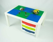 Large White Construction Table with LEGO storage drawers, 20x30 inch building area