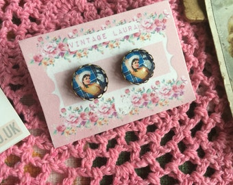 Glass cabochon vintage style 50's/60's pin up stud earrings, handmade by Vintage Laura xx