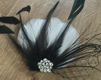 Bridal Hair Clip Bridal Feather Fascinator, Feather Hair Piece, Wedding Hair Accessory, black and white  hair clip