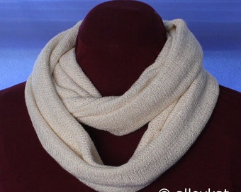 Knit Infinity Scarf, Off-White with Gold Accents