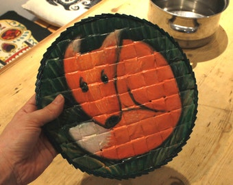 Big Fox Coaster, 24 cm Diameter, made from paper, varnished