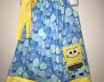 Spongebob Squarepants Sponge Party Girl Pillowcase Pillow Case Girl Birthday Party Boutique Summer Sun Dress! Sizes 2 3, 4, 5, 6, 7 8 10 12