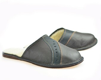 SALE !!! Men's Natural Leather, wool, SLIPPERS, Very light and comfy! Good gift! Genuine Leather