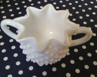 Vintage Scalloped Hobnail Milk Glass Sugar Bowl