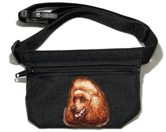 Embroidered dog treat waist bag. Breed - Poodle (red). For dog shows and training. Great gift for breed lovers.
